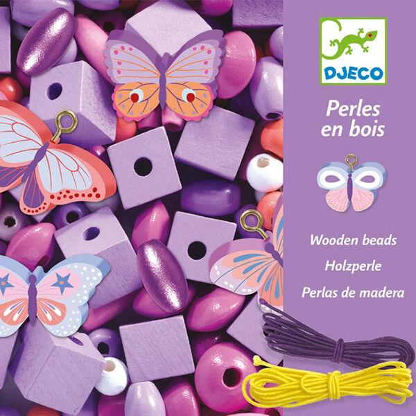 DJECO Fa gyöngyfűző készlet - Pillangók